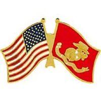 MILITARY HAT LAPEL PIN -  USA / MARINE FLAG PIN - NEW