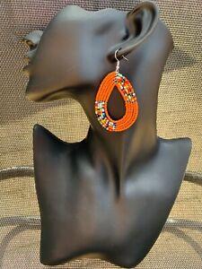 Orange Hoop Drop Dangle Beaded Large Earrings Maasai Handmade African Tribal