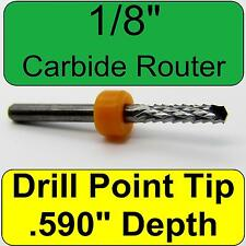 """1/8"""" Carbide Router - NEW < Drill Point Tip >  CNC PCB FR4 models dremel N"""