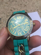 Turquoise and Gold Casual Chic Jelly Chain Watch