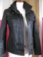 Ladies NEXT brown real leather JACKET COAT size UK 14 biker military