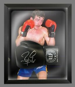 Barry McGuigan Signed Black VIP Boxing Glove Presented In A Dome Frame : A