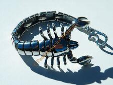 Bracelet Collector Rare 23 cm Pur Acier Inoxydable Argenté  Véritable Scorpion