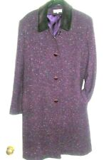 HOURIHAN Fabulous Aubergine Tweed Wool Coat 18 UK Velvet collar, great tailoring