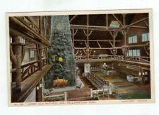"""Yellowstone Park antique post card """"Lobby Old Faithful Inn"""" Haynes No. 135"""