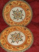 "2 Artimino Tuscan Countryside Sienna Dinner Plate(s) SAGE 11 1/4"" Earthenware"