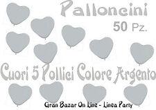 PALLONCINI A FORMA DI CUORE ARGENTO 50 Pezzi 6 Pollici Party Festa Sposi Nozze