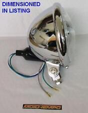 """CHROME HEADLIGHT 5 3/4"""" BOTTOM MOUNT METAL BODY CUSTOM H4 12V 60/55W bulb & Side"""