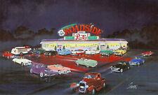 "ROUTE 66 ROADSIDE DINER Card 8x5"" Print 1950s era PEPSI COLA Truck,Cars,Ad.Sign+"