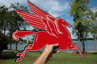 """OLD STYLE MOBIL OIL 24""""  PEGASUS HORSE DIECUT THICK STEEL SIGN RIGHT MADE IN USA"""