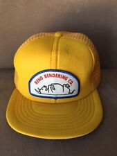 RENO RENDERING COMPANY VINTAGE YELLOW TRUCKER HAT MADE IN THE USA