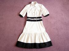 Karen Millen white dress w black stripe Shirt style top Fuller skirt Belt UK 8