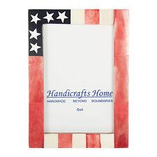USA American Flag Picture Photo Frame Souvenirs Handmade Bone Frames Size - 4x6