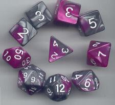 NEW RPG Dice 10pc - Twisted Purple-Silver- 1 @ D4 D8 D10 D12 D20 D00-10 & 4 D6