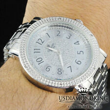 MEN'S NEW .06CT GENUINE REAL DIAMOND ROUND METAL WRIST WATCH DIAMOND MAXX/JOJO