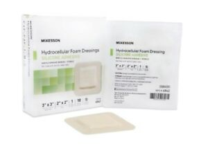 McK Hydrocellular Foam Dressing 3 X 3 Inch Square Silicone Adhesive Box of 10
