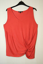 RED LADIES CASUAL TOP BLOUSE STRETCH SIZE M CABLE & GAUGE