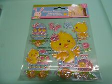 NEW FOIL Spring Easter Eggs Chicks Train Flowers Window Sticker Clings 7 pc
