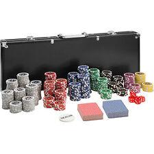 Maletín Póker set aluminio negro con 500 fichas láser poker chips + accesorios