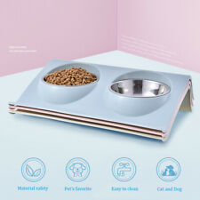 Double Stainless Steel Dog cat Bowls Food & Water Angled Holder Catches Spills