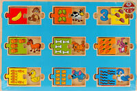 Wooden Sliding Jigsaw Puzzle For Toddlers - Numbers, Object And Counting