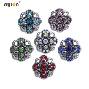 6pcs Rhinestone Mini Snap Charms 12mm Snap Button Multi Styles For Snap Jewelry