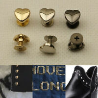 10 Sets Metal Rivets Heart Shape Screwback Stud Purse Bag Decor Craft DIY Supply