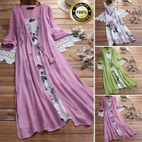 Womens Boho Baggy Casual Cotton Linen Lace Two-piece 3/4 Sleeve Long Maxi Dress