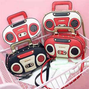 Novelty Shape Portable Radio Tape Fashion Shoulder Messenger Small Clutch Bags