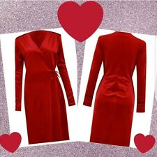 Women's red velvet long sleeve wrap dress party evening wear
