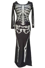 SEXY HALLOWEEN LONG DRESS BONE FANCY DRESS GOTHIC WOMAN OUTFIT SKELETON SKULL