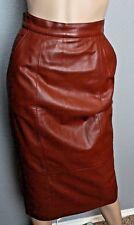 VTG 70's Lillie Rubin 100% Leather Oxblood High Waisted Bandage Skirt s 4
