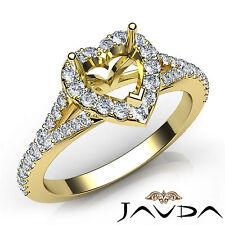 Heart Diamond Halo Pave Setting Engagement 18k Yellow Gold Semi Mount Ring 0.5Ct