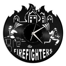 Firefighters Vinyl Wall Clock Fire Fighting Theme Unique Gift for Home Decor