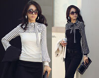 Womens/Ladies Long Sleeve T-shirt top blouse Stripe Bow Shirt size 8,10,12,14