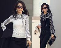 Womens/Ladies Long Sleeve T-shirt top blouse Stripe Bow Shirt size 8,10,12,14