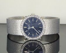 Vintage Patek Philippe 18k White Gold Blue Dial Diamond Ladies Watch 3355