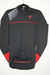 SPECIALIZED LONG SLEEVE FULL ZIP CYCLING JACKET - XS Mens - BLACK Red EUC
