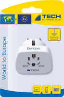 Tech Travel Blue World to Europe Travel Adaptor 2 pin- Earthed For 150 Countries