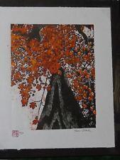 Up a Maple Original Woodblock Print woodcut Japanese Moku Hanga Signed Clark Red