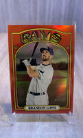 2021 Topps Heritage Chrome RED REFRACTOR /372 Brandon Lowe RAYS Baseball Card🔥