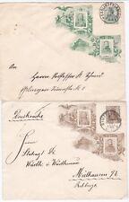 # 1906  2 DIFF COLOUR GERMANY USED POSTAL STATIONERY ENVELOPES FRIEDR & WILHELM