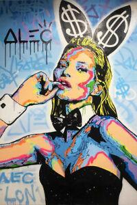 "YA081 DECOR CANVAS GRAFFITI ART OIL PAINTING HAND-PAINTED UNFRAMED 24""X36"""