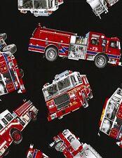 TT106 Emergency Fireman Fire Fighter First Resp Fire Truck Cotton Quilt Fabric