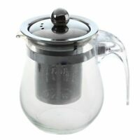 350mL Heat-resistant Clear Glass Teapot Stainless Steel Infuser Flower Tea Po AQ