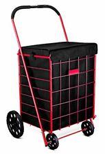 Folding Shopping Cart Liner Rolling Utility Trolley Wheels Basket Hood Bag Blue.