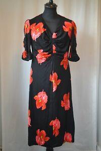 Vintage Gigi black red floral evening long dress size 16 44 summer