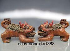 "13"" Chinese WuCai Porcelain & Pottery Foo Dog Lion Dragon kylin Animal Statue"