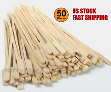 50 pcs Bamboo Skewers 6 Inch BBQ Paddle Sticks Wooden Grill Kebab Barbecue