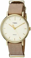 Timex Weekender Indiglo Fairfield Brown Leather Band Watch TW2P98400
